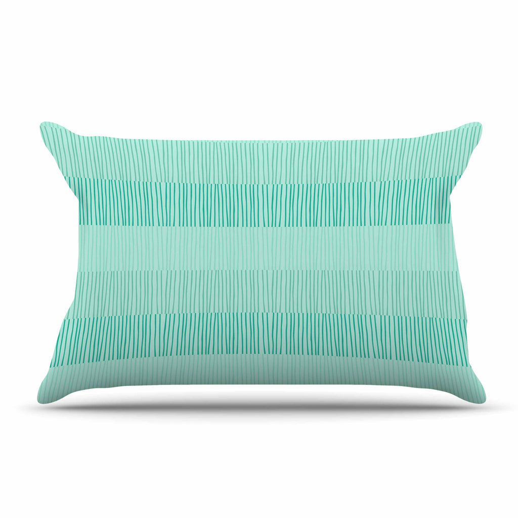"Holly Helgeson ""Mod Grass"" Teal Lines Pillow Sham - KESS InHouse"
