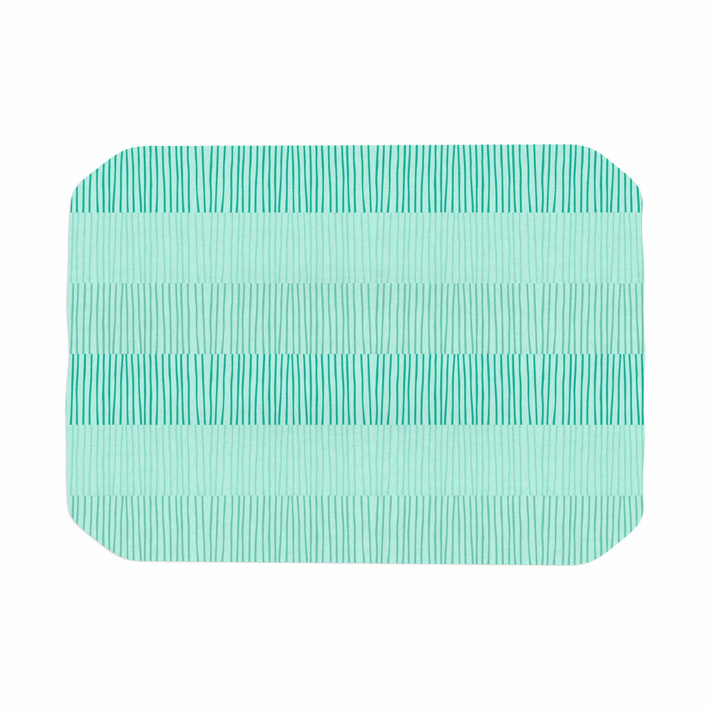 "Holly Helgeson ""Mod Grass"" Teal Lines Place Mat - KESS InHouse"