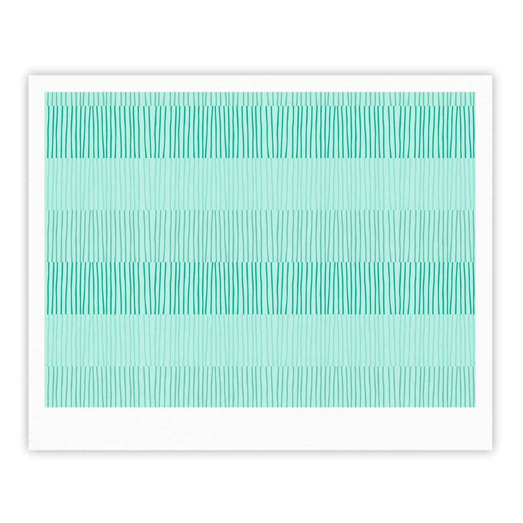 "Holly Helgeson ""Mod Grass"" Teal Lines Fine Art Gallery Print - KESS InHouse"