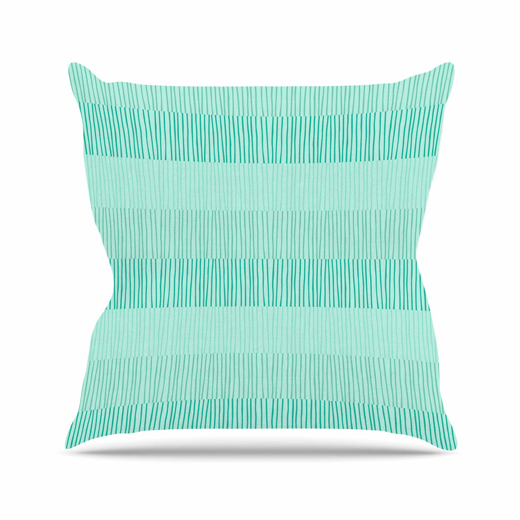 "Holly Helgeson ""Mod Grass"" Teal Lines Throw Pillow - KESS InHouse  - 1"