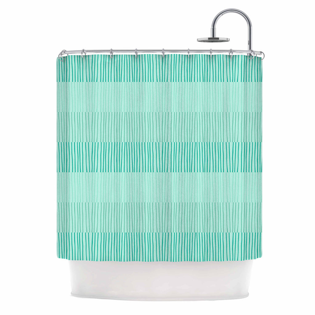 "Holly Helgeson ""Mod Grass"" Teal Lines Shower Curtain - KESS InHouse"