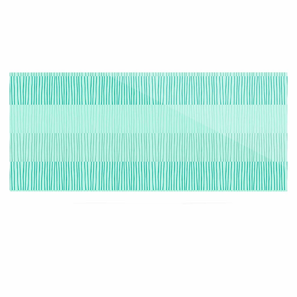"Holly Helgeson ""Mod Grass"" Teal Lines Luxe Rectangle Panel - KESS InHouse  - 1"