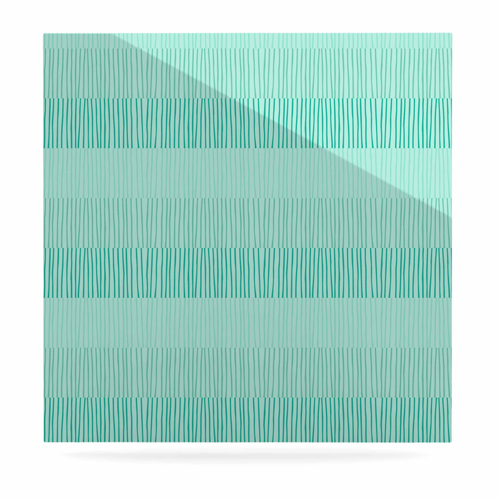 "Holly Helgeson ""Mod Grass"" Teal Lines Luxe Square Panel - KESS InHouse  - 1"