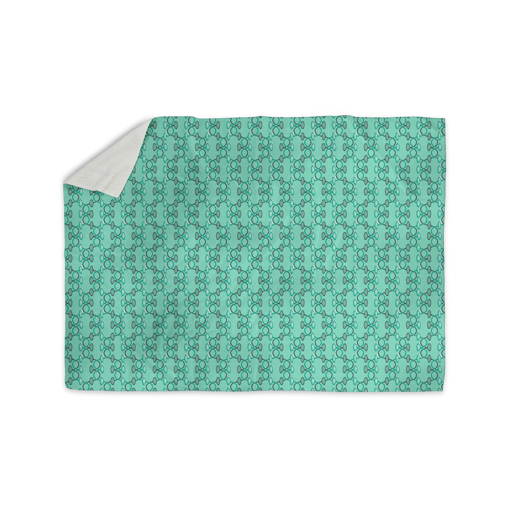 "Holly Helgeson ""Mod Pod"" Teal Pattern Sherpa Blanket - KESS InHouse  - 1"