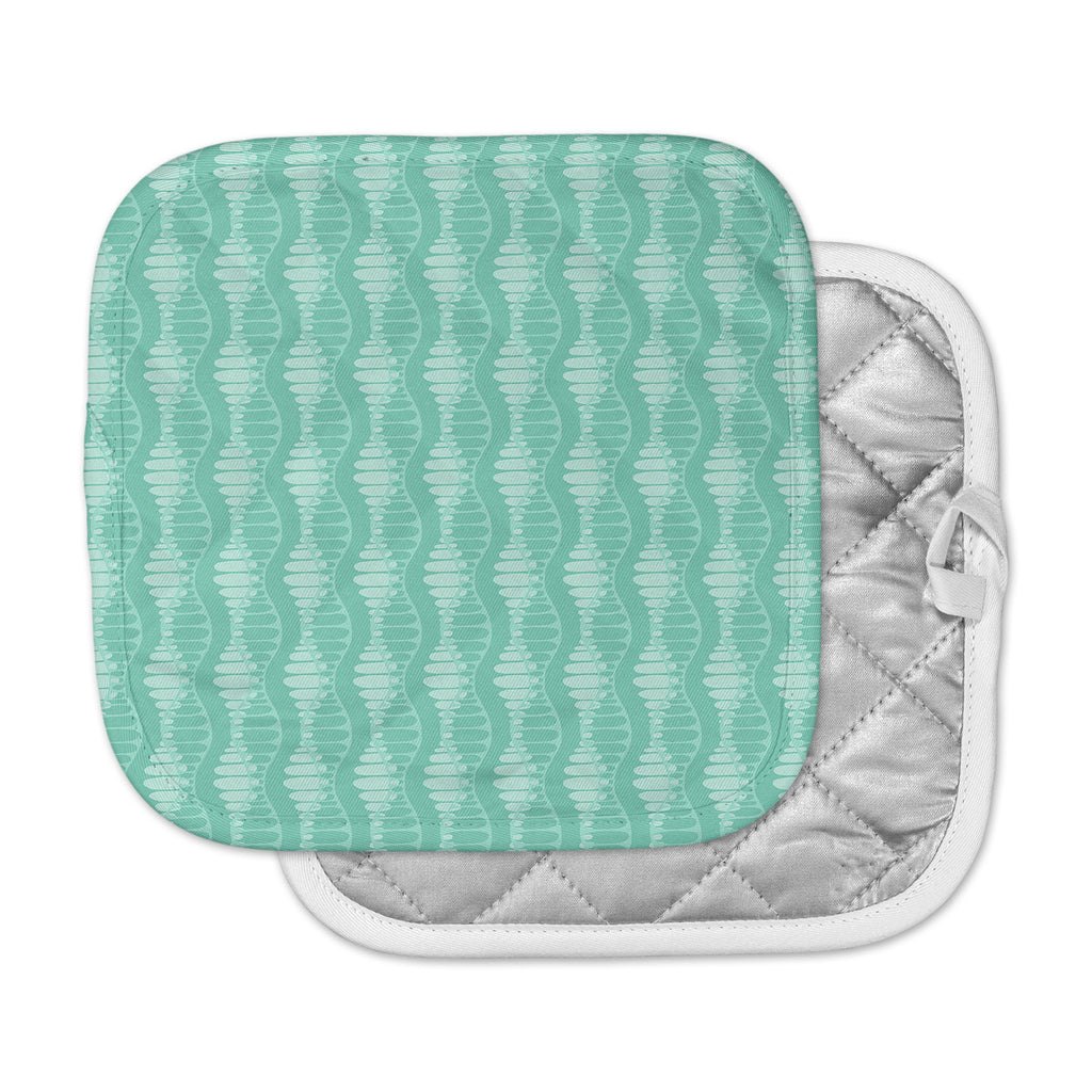"Holly Helgeson ""Mod Waves"" Teal Pattern Pot Holder"