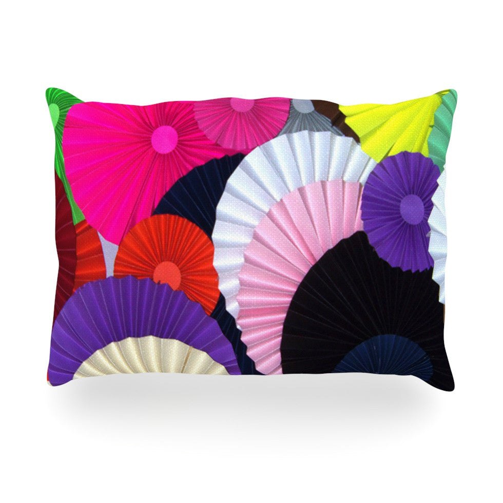 "Heidi Jennings ""Madness"" Rainbow Circle Oblong Pillow - KESS InHouse"
