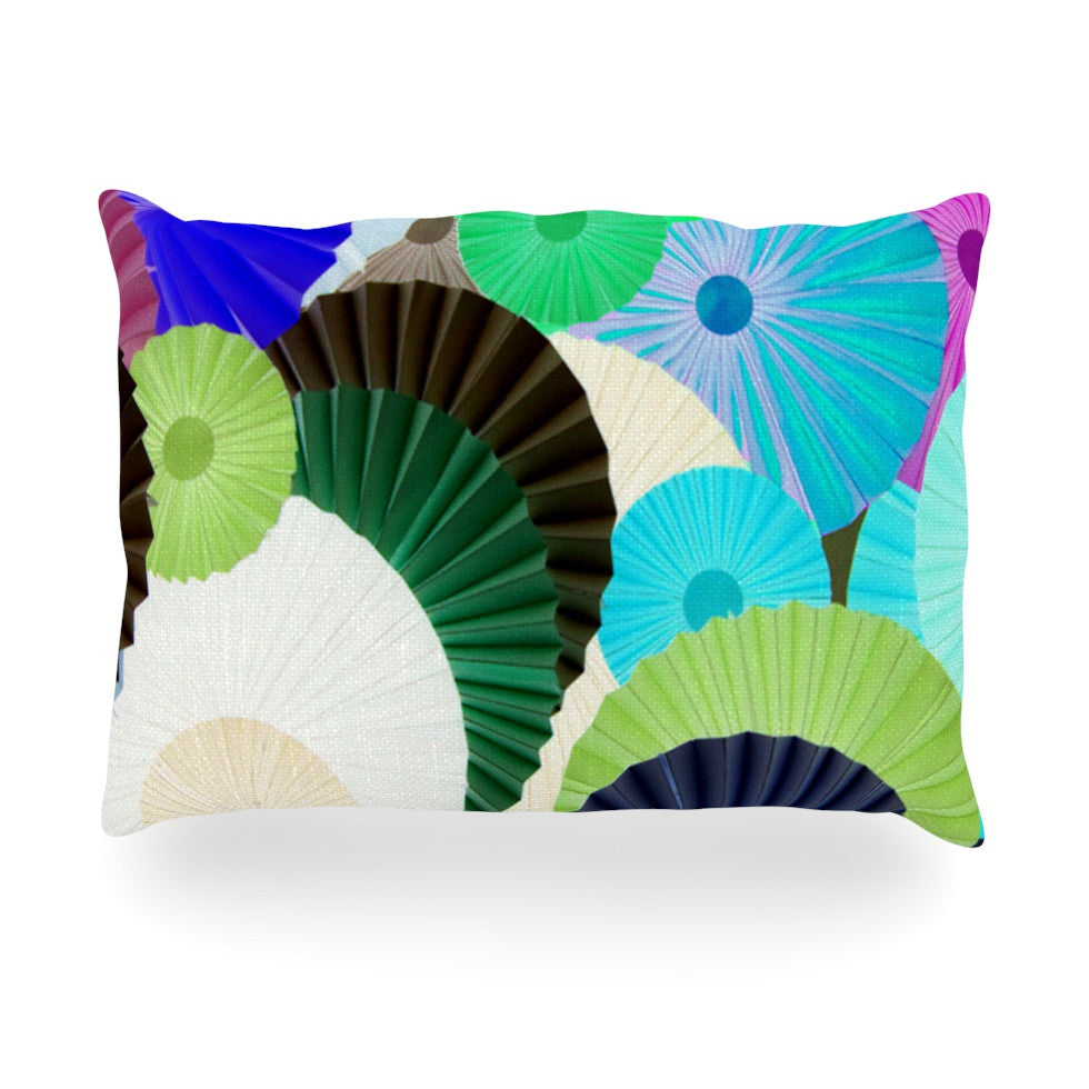 "Heidi Jennings ""Wonderland"" Teal Paper Oblong Pillow - KESS InHouse"