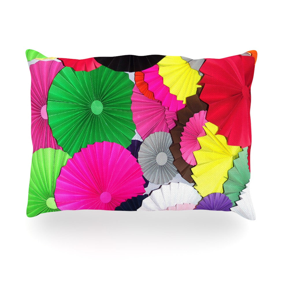 "Heidi Jennings ""Tempting"" Multicolored Circles Oblong Pillow - KESS InHouse"