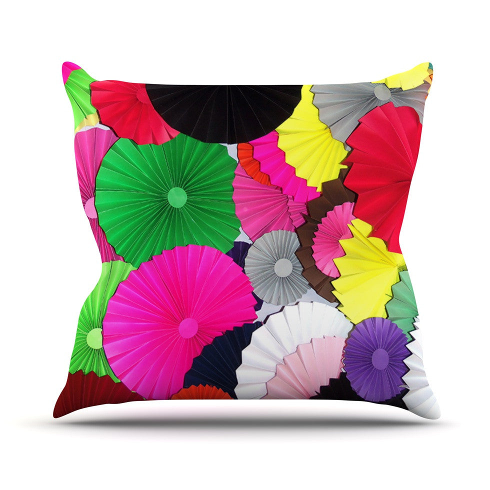 "Heidi Jennings ""Tempting"" Multicolored Circles Outdoor Throw Pillow - KESS InHouse  - 1"