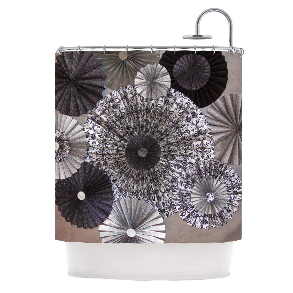 "Heidi Jennings ""Shadows"" Dark Circles Shower Curtain - KESS InHouse"