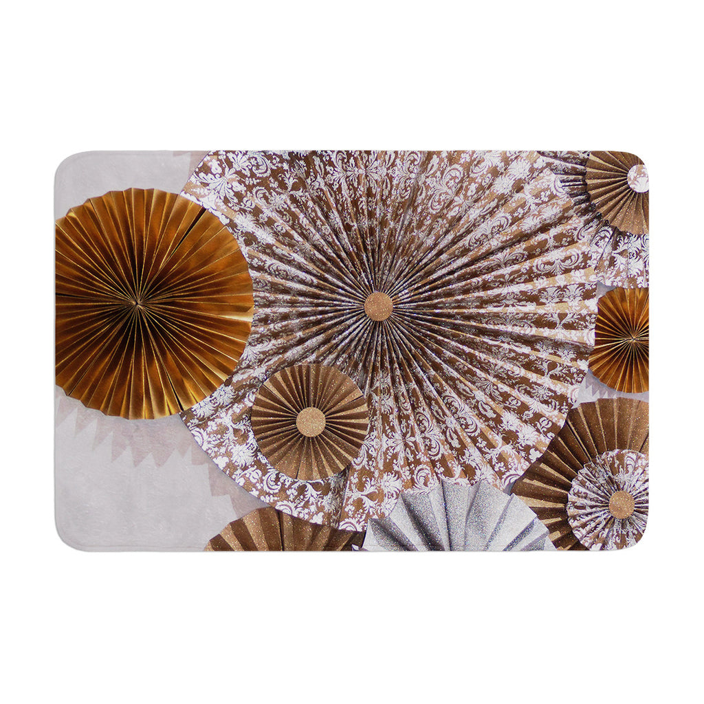 "Heidi Jennings ""Venice"" Brown White Memory Foam Bath Mat - KESS InHouse"