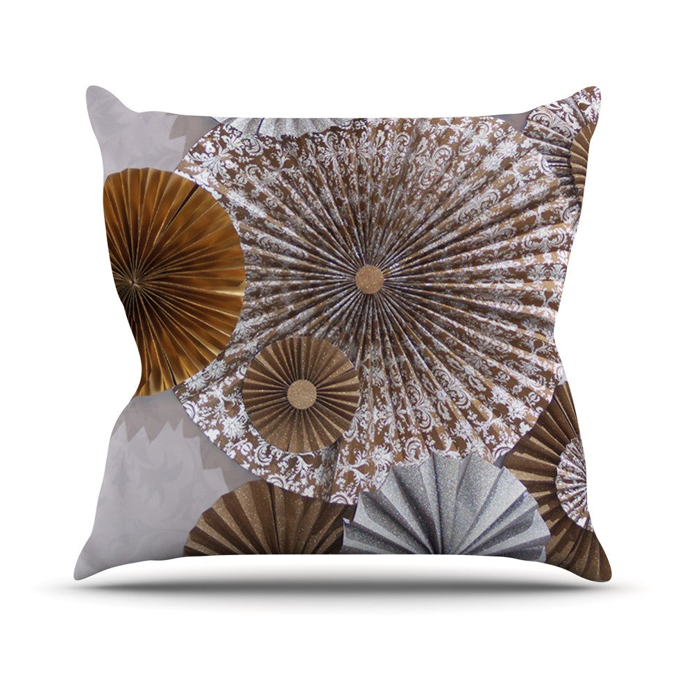 "Heidi Jennings ""Venice"" Brown White Outdoor Throw Pillow - KESS InHouse  - 1"