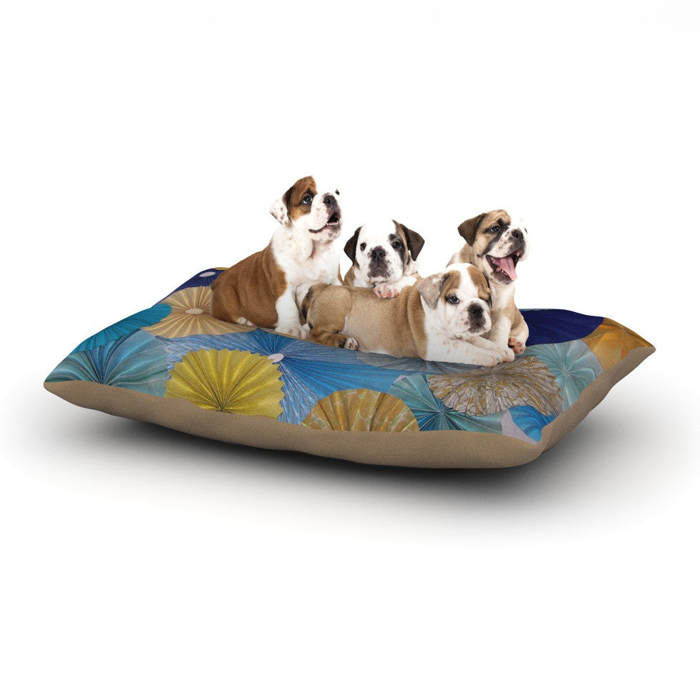 "Heidi Jennings ""Suspension"" Gold Blue Dog Bed - KESS InHouse  - 1"