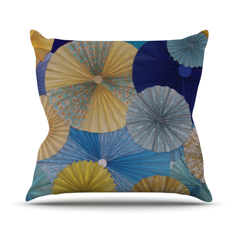"Heidi Jennings ""Suspension"" Gold Blue Outdoor Throw Pillow - KESS InHouse  - 1"
