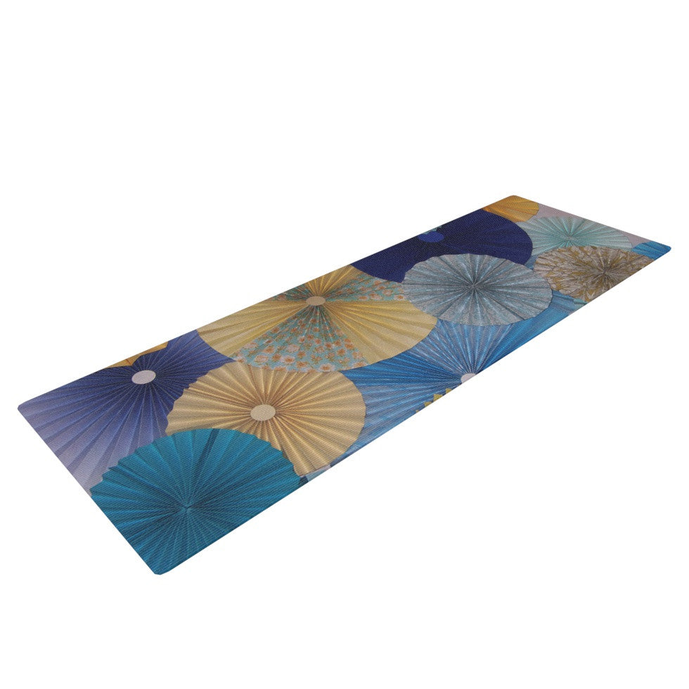 "Heidi Jennings ""Suspension"" Gold Blue Yoga Mat - KESS InHouse  - 1"