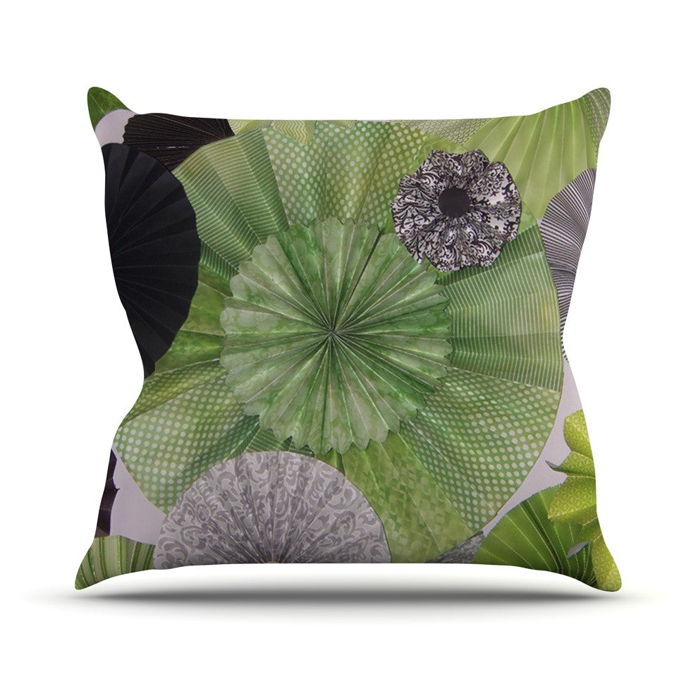 "Heidi Jennings ""Serenity"" Green Grey Outdoor Throw Pillow - KESS InHouse  - 1"