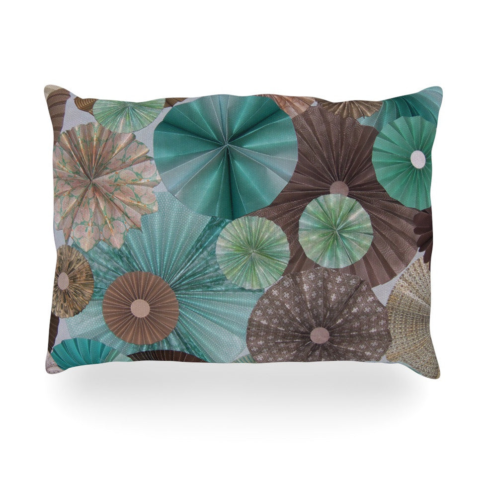 "Heidi Jennings ""Atlantis"" Teal Brown Oblong Pillow - KESS InHouse"