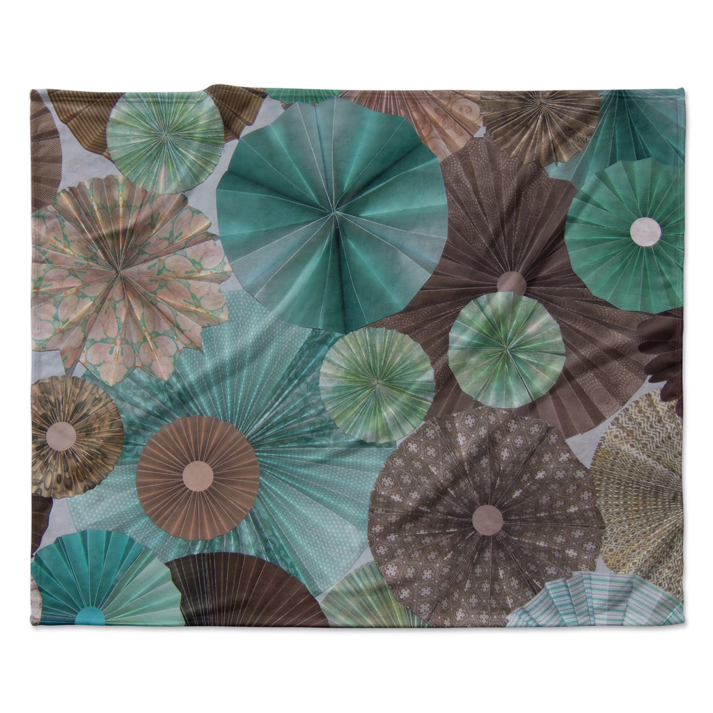 "Heidi Jennings ""Atlantis"" Teal Brown Fleece Throw Blanket"