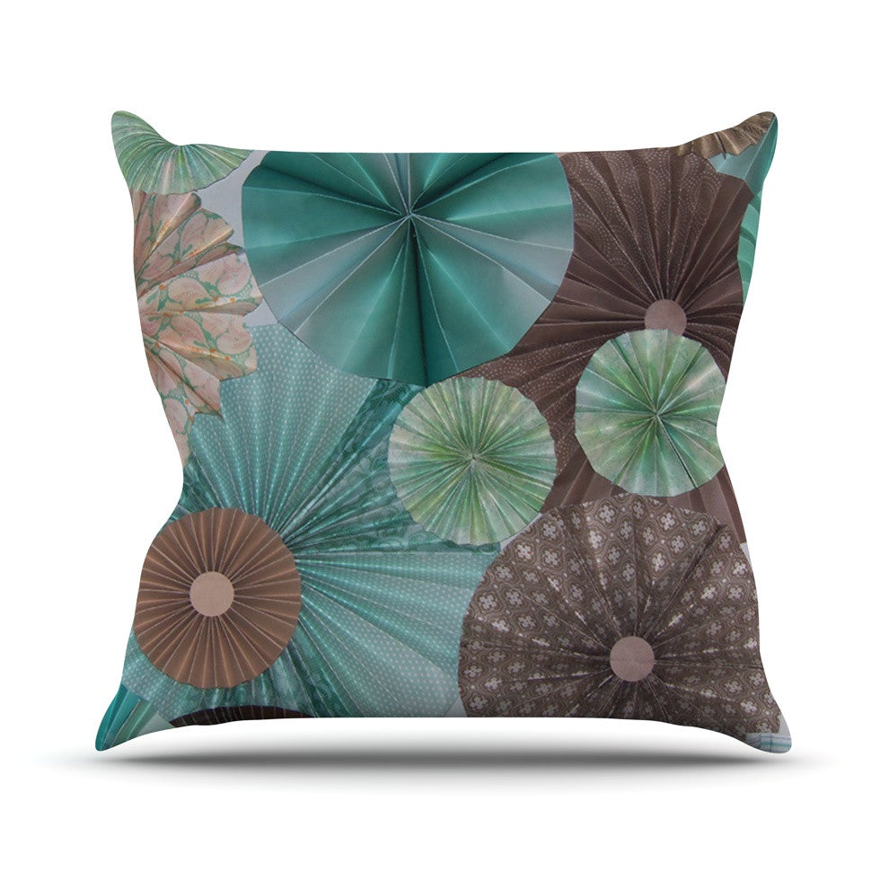 "Heidi Jennings ""Atlantis"" Teal Brown Outdoor Throw Pillow - KESS InHouse  - 1"