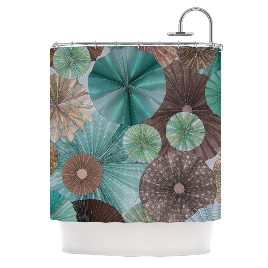 "Heidi Jennings ""Atlantis"" Teal Brown Shower Curtain - KESS InHouse"