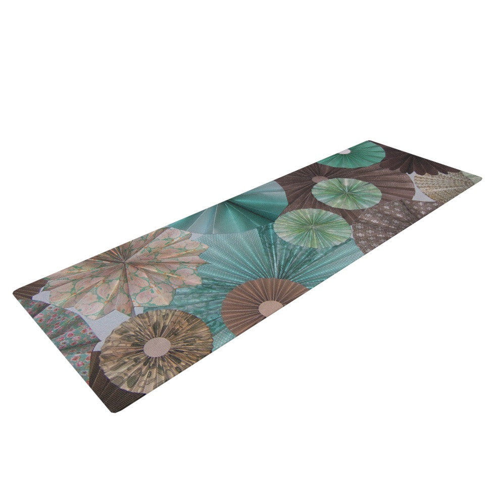 "Heidi Jennings ""Atlantis"" Teal Brown Yoga Mat - KESS InHouse  - 1"