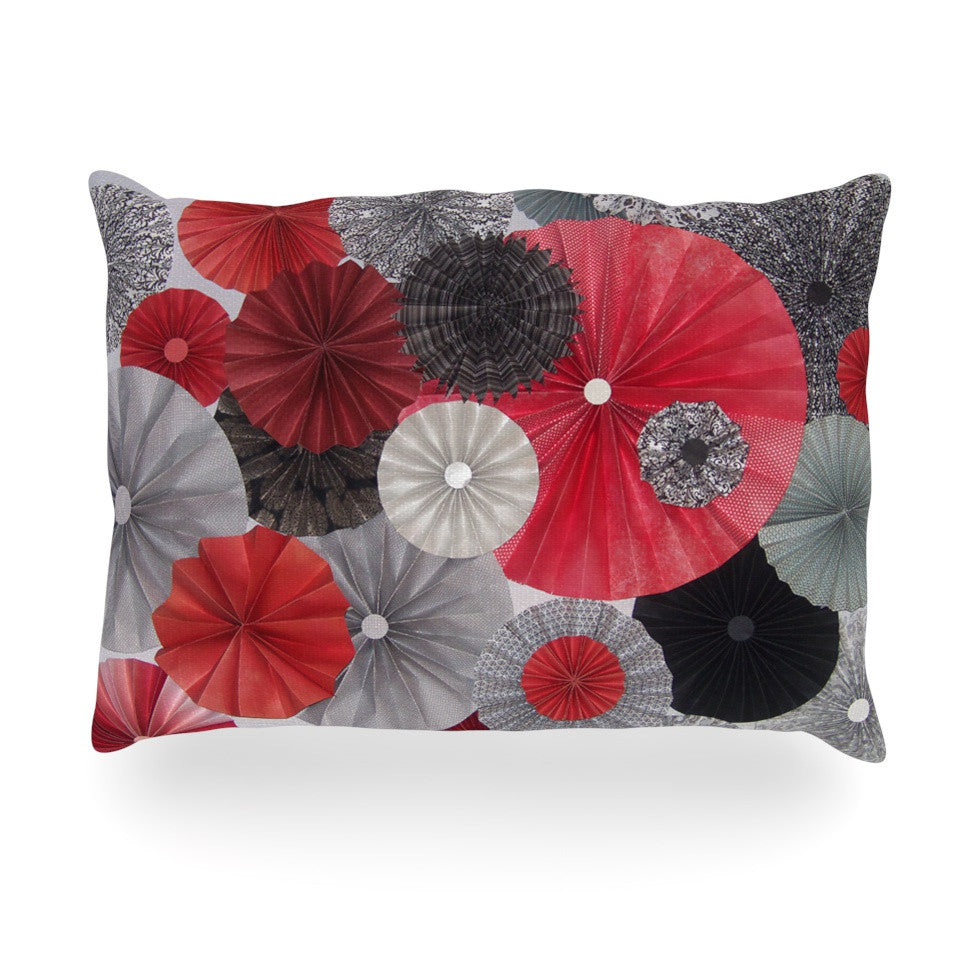 "Heidi Jennings ""Kyoto"" Red Black Oblong Pillow - KESS InHouse"