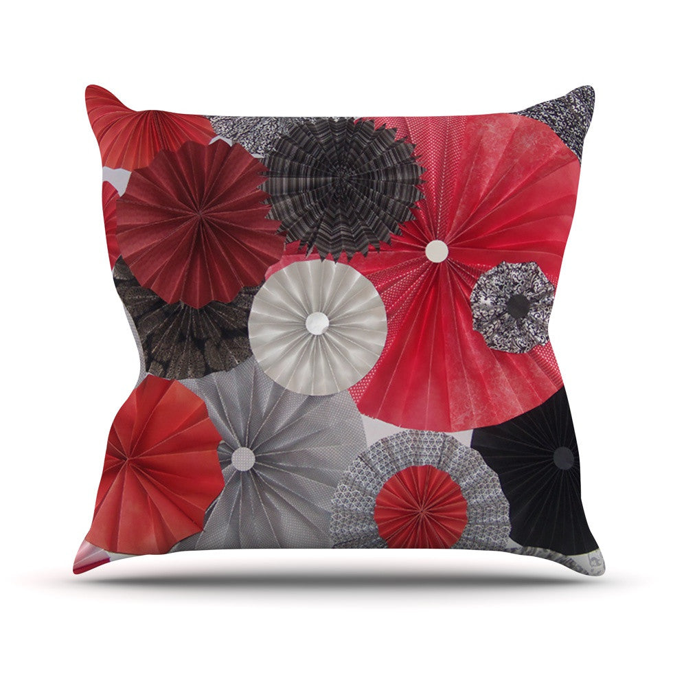 "Heidi Jennings ""Kyoto"" Red Black Throw Pillow - KESS InHouse  - 1"