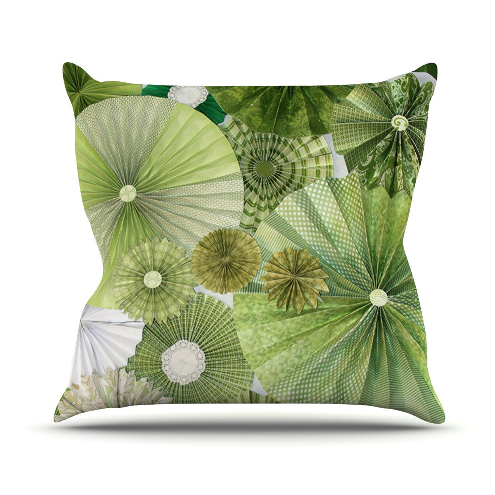 "Heidi Jennings ""Green Thumb"" Lime Outdoor Throw Pillow - KESS InHouse  - 1"