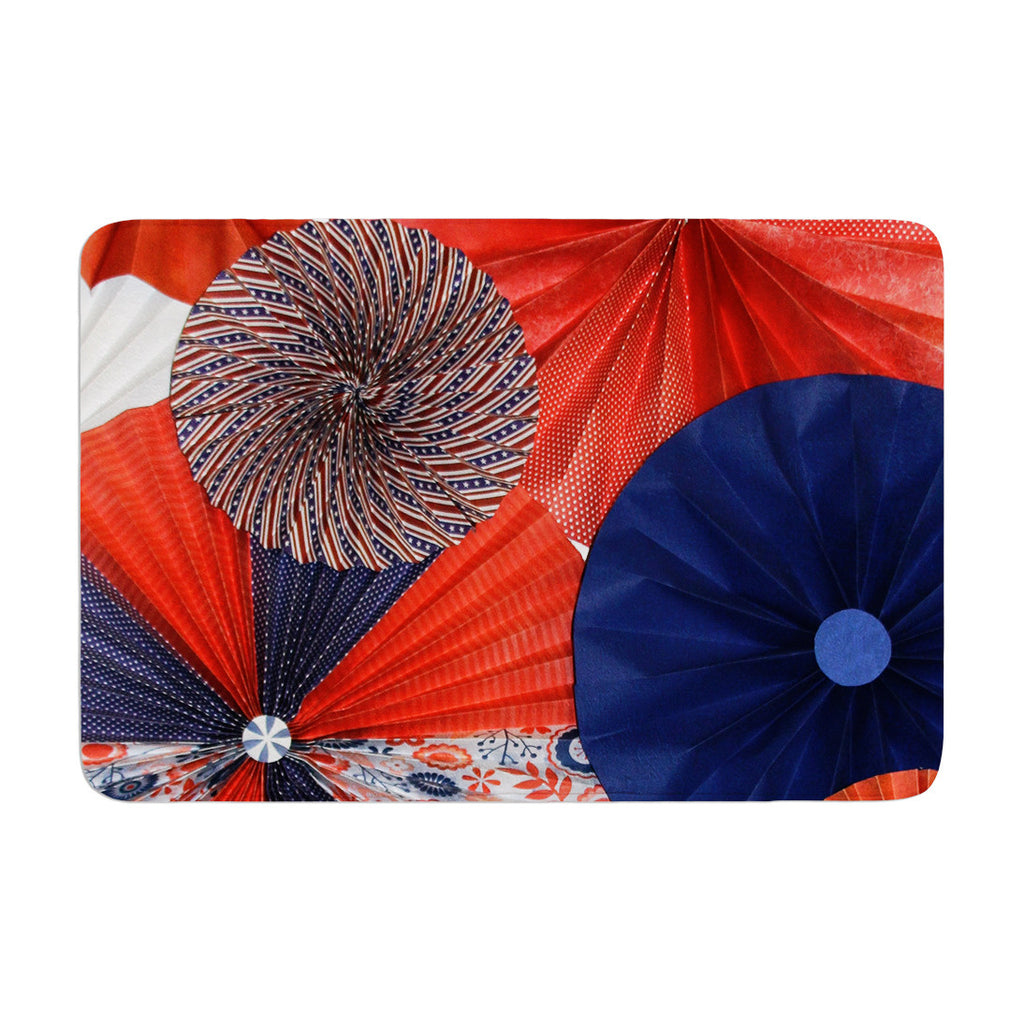"Heidi Jennings ""Liberty"" Red Blue Memory Foam Bath Mat - KESS InHouse"