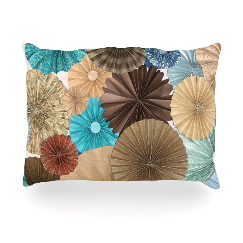 "Heidi Jennings ""Day At The Beach"" Tan Aqua Oblong Pillow - KESS InHouse"