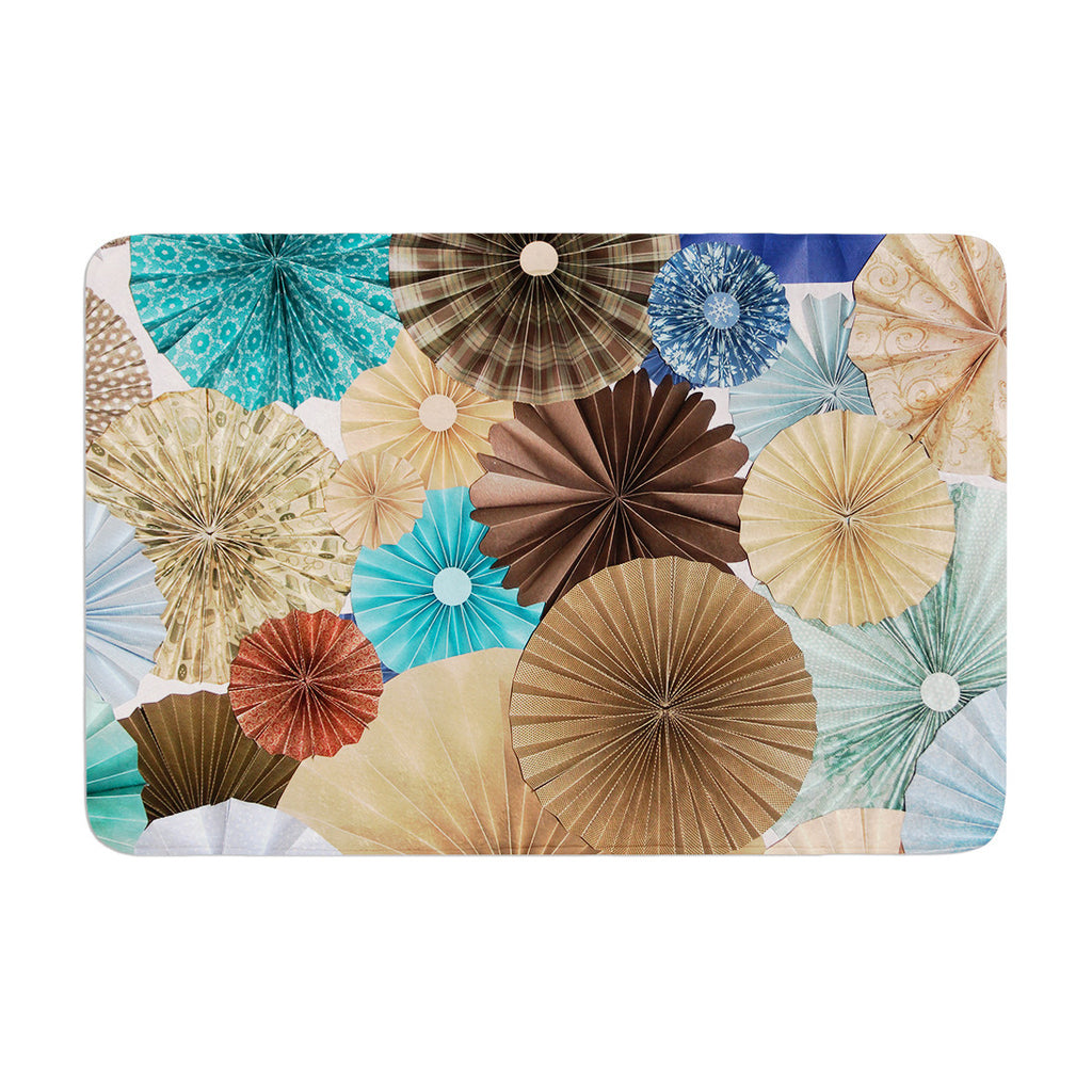 "Heidi Jennings ""Day At The Beach"" Tan Aqua Memory Foam Bath Mat - KESS InHouse"