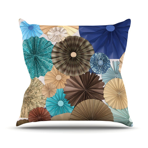 "Heidi Jennings ""Day At The Beach"" Tan Aqua Throw Pillow - Outlet Item - KESS InHouse"
