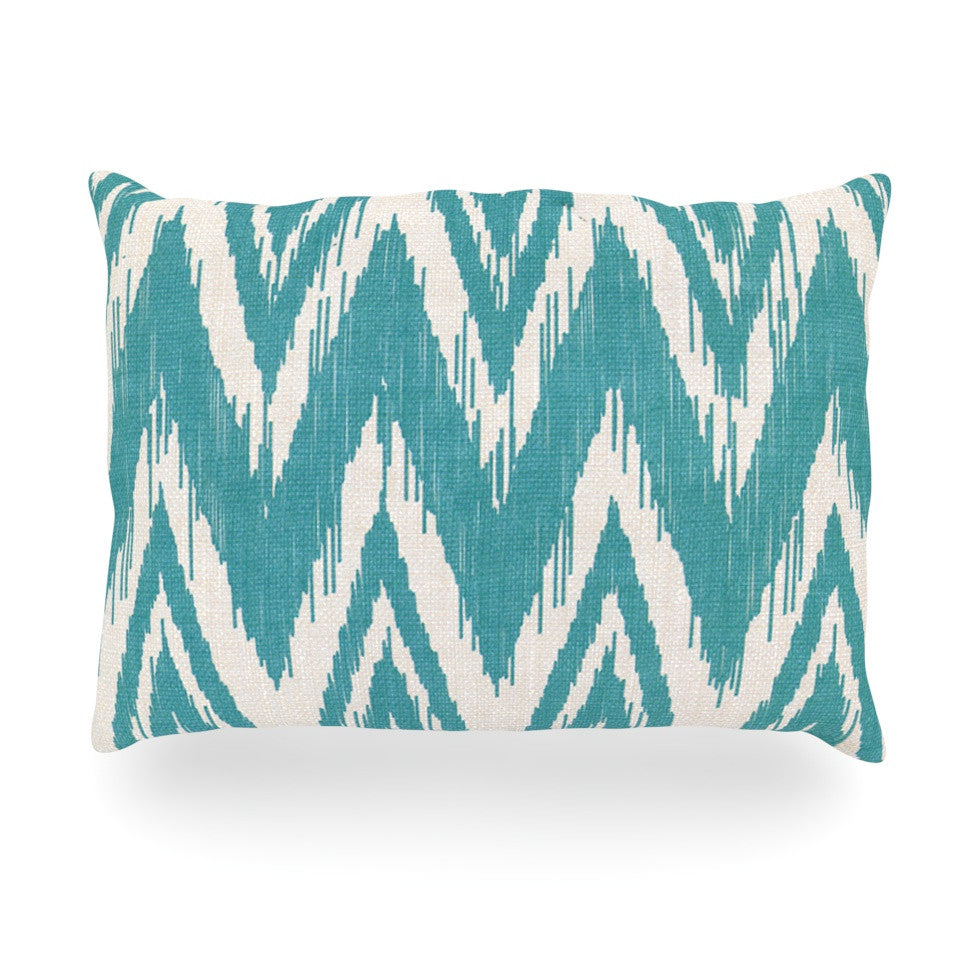 "Heidi Jennings ""Tribal Chevron Aqua"" Oblong Pillow - KESS InHouse"