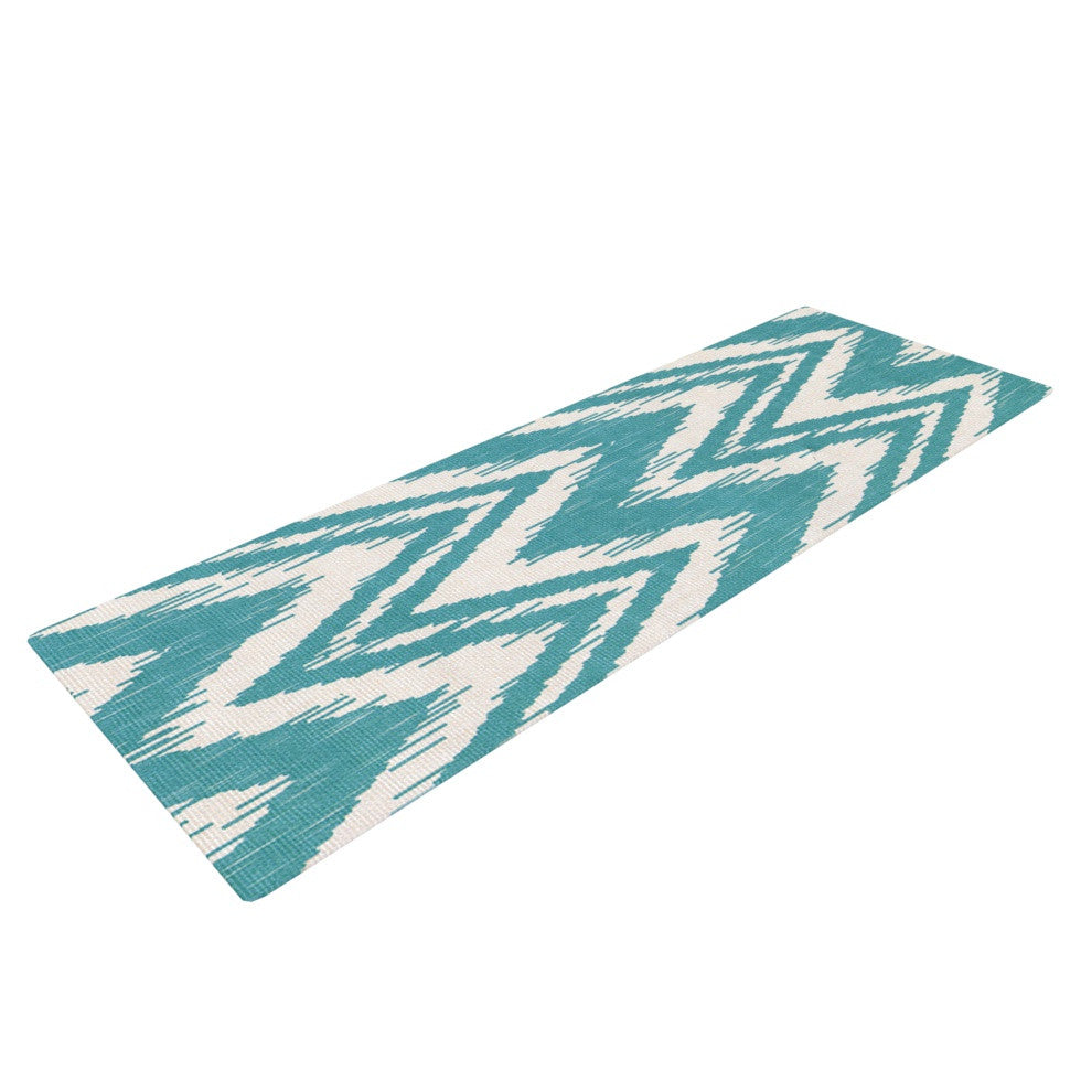 "Heidi Jennings ""Tribal Chevron Aqua"" Yoga Mat - KESS InHouse  - 1"
