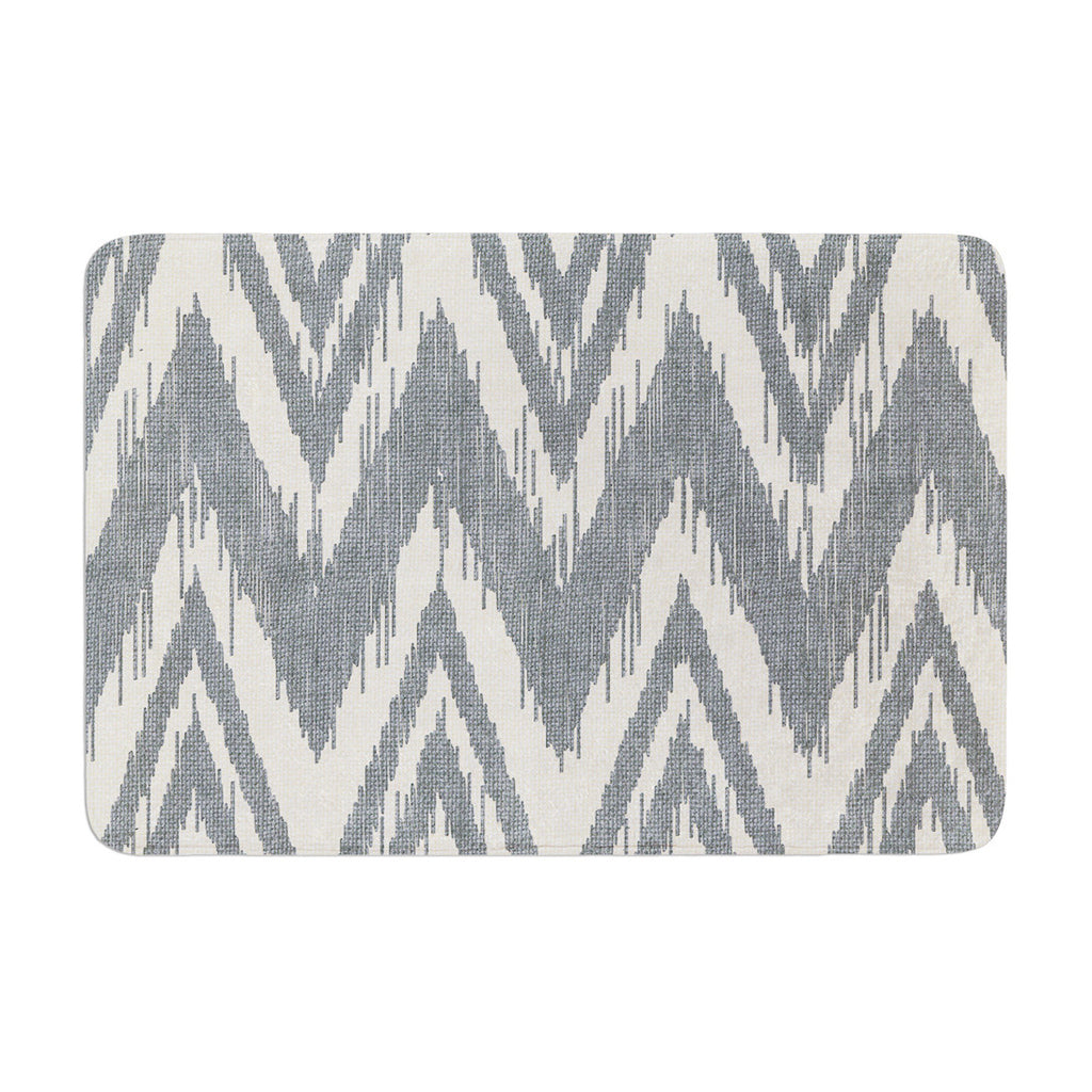 "Heidi Jennings ""Tribal Chevron Gray"" Memory Foam Bath Mat - KESS InHouse"