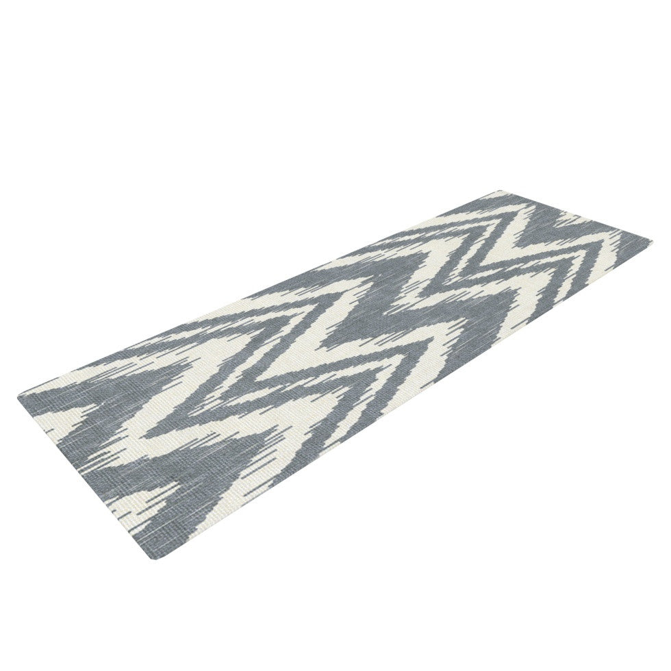 "Heidi Jennings ""Tribal Chevron Gray"" Yoga Mat - KESS InHouse  - 1"