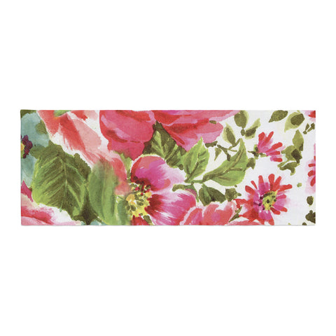 "Heidi Jennings ""Walk Through The Garden"" Pink Flowers Bed Runner - KESS InHouse"
