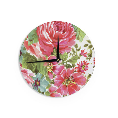 "Heidi Jennings ""Walk Through The Garden"" Pink Flowers Wall Clock - KESS InHouse"