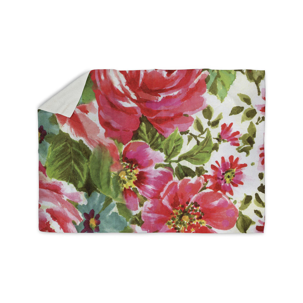 "Heidi Jennings ""Walk Through The Garden"" Pink Flowers Sherpa Blanket - KESS InHouse  - 1"