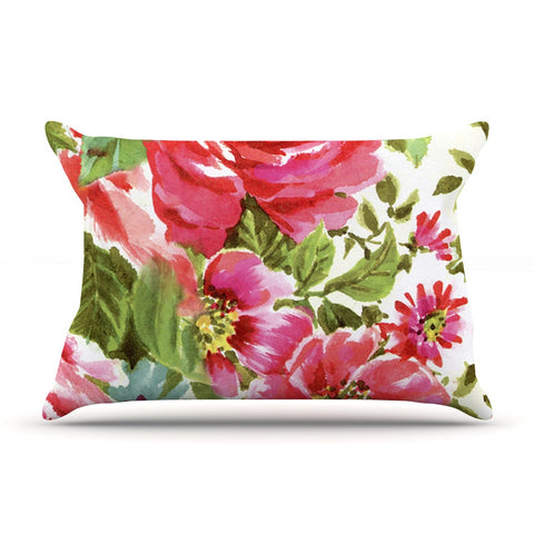 "Heidi Jennings ""Walk Through The Garden"" Pink Flowers Pillow Sham - KESS InHouse"
