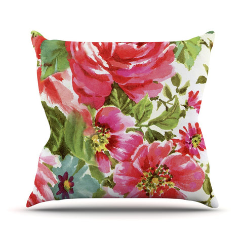 "Heidi Jennings ""Walk Through The Garden"" Pink Flowers Outdoor Throw Pillow - KESS InHouse  - 1"