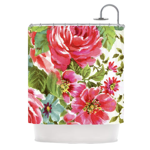 "Heidi Jennings ""Walk Through The Garden"" Pink Flowers Shower Curtain - KESS InHouse"