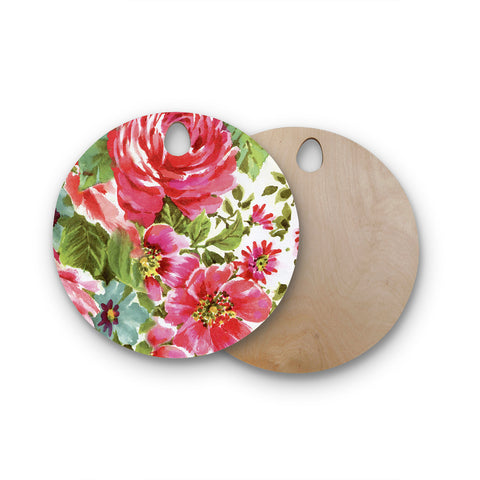 "Heidi Jennings ""Walk Through The Garden"" Pink Flowers Round Wooden Cutting Board"