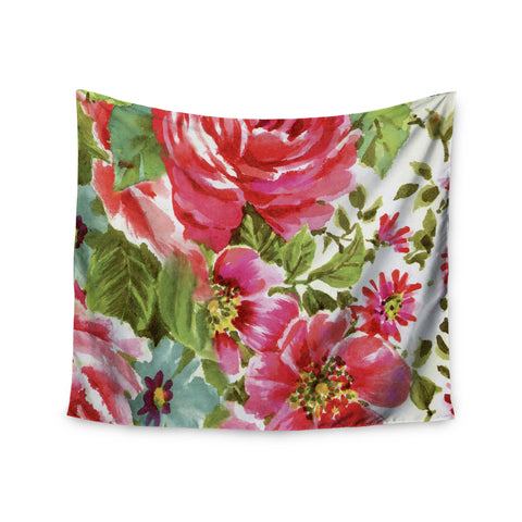 "Heidi Jennings ""Walk Through The Garden"" Pink Flowers Wall Tapestry - KESS InHouse  - 1"