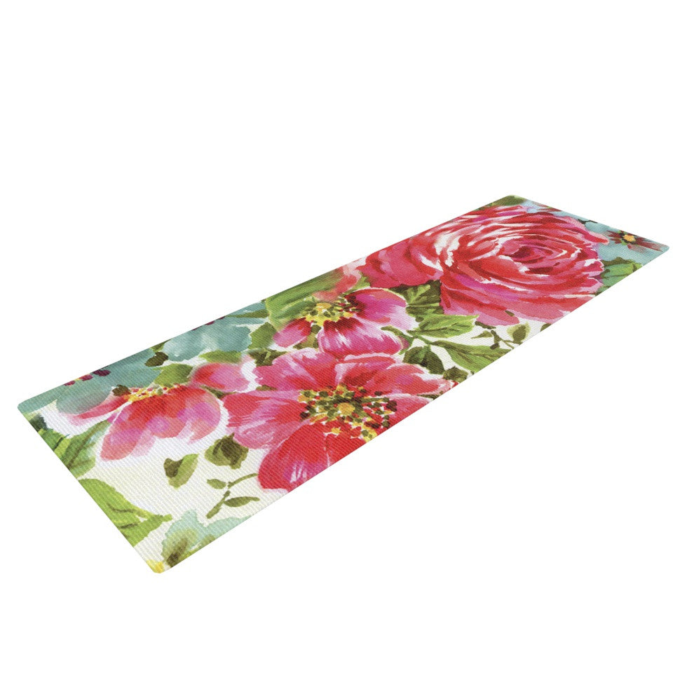 "Heidi Jennings ""Walk Through The Garden"" Pink Flowers Yoga Mat - KESS InHouse  - 1"