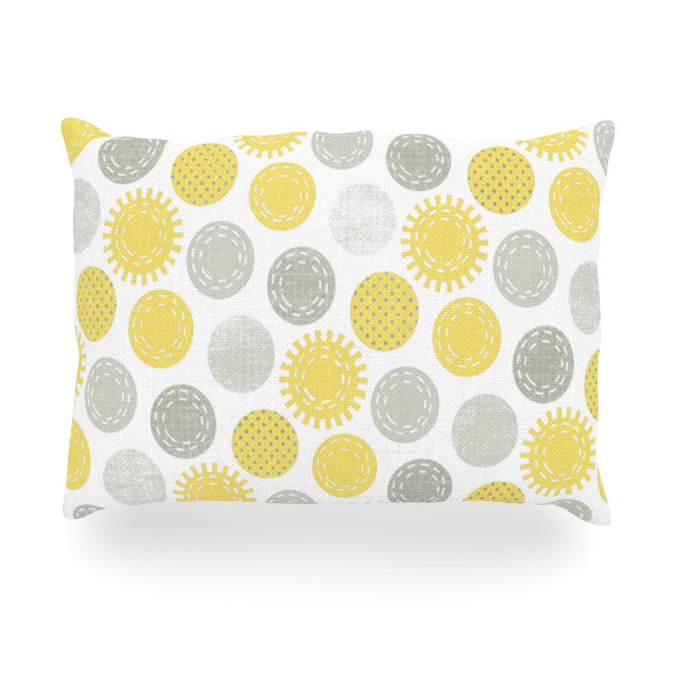 "Heidi Jennings ""Sunspot"" Yellow Spots Oblong Pillow - KESS InHouse"