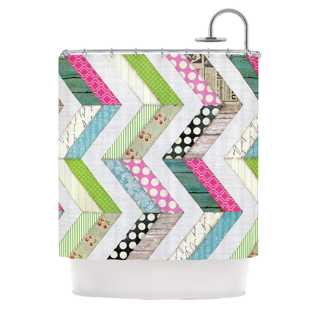 "Heidi Jennings ""Fabric Much?"" Colored Cloth Shower Curtain - KESS InHouse"