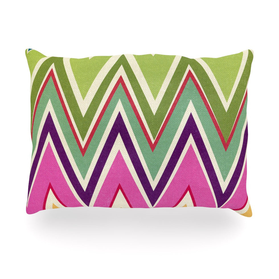 "Heidi Jennings ""Clash Of Color"" Rainbow Chevron Oblong Pillow - KESS InHouse"