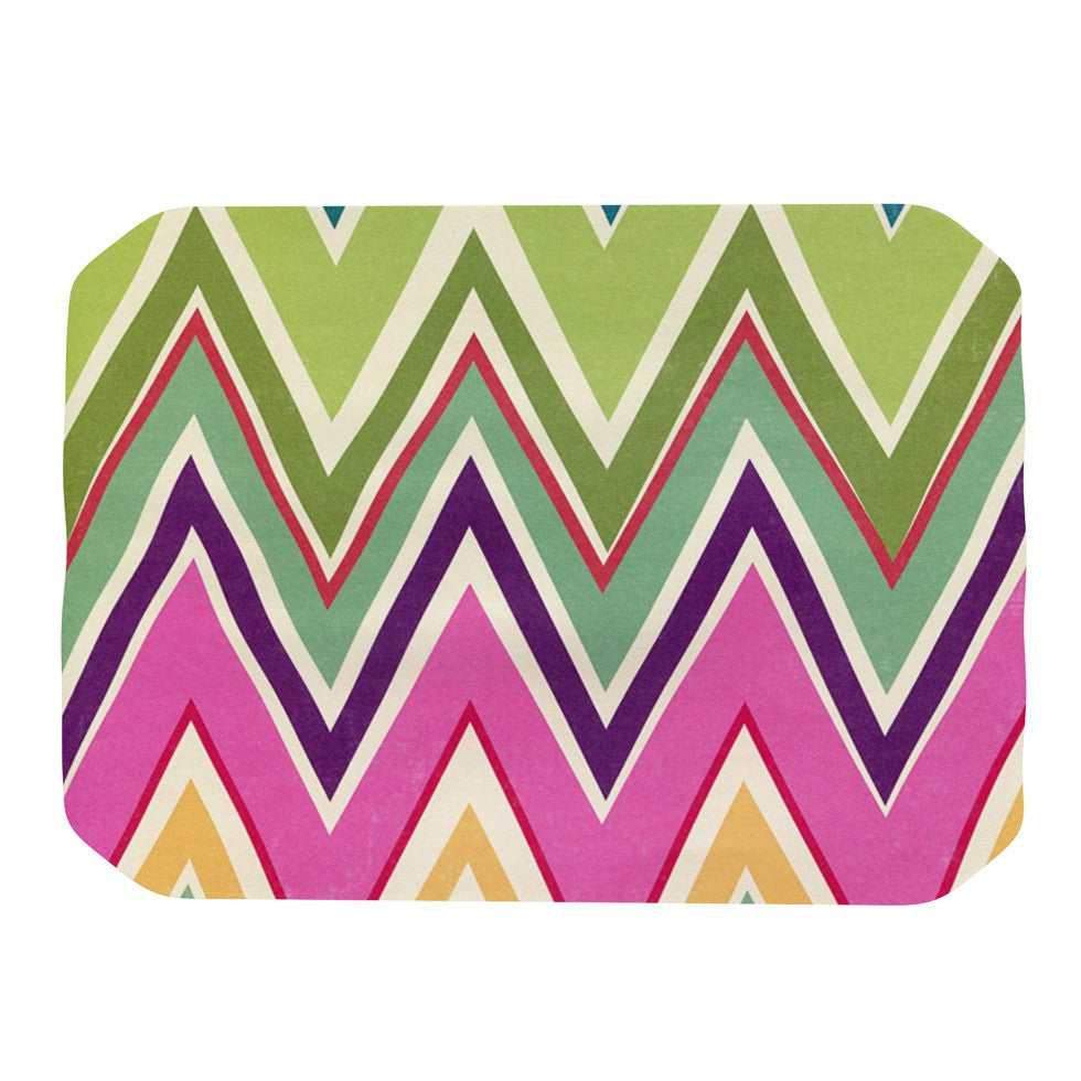 "Heidi Jennings ""Clash Of Color"" Rainbow Chevron Place Mat - KESS InHouse"