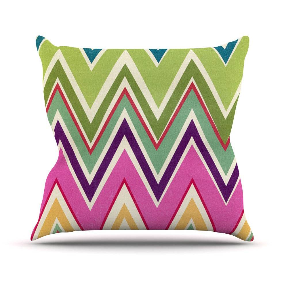 "Heidi Jennings ""Clash Of Color"" Rainbow Chevron Outdoor Throw Pillow - KESS InHouse  - 1"